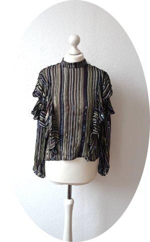 Bluse von ZARA mit Pailletten und Rüschen