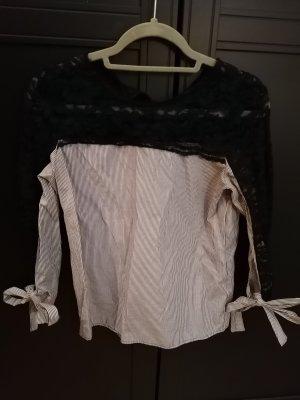 Bluse von Zara mit Spitzeneinsatz