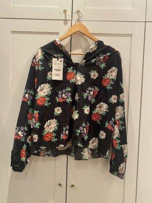 Bluse von ZARA mit Voillants und Blumenmuster