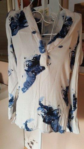H&M Lange blouse wit-staalblauw Gemengd weefsel