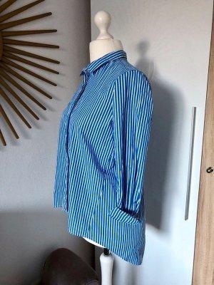 Bluse weiß blau gestreift Streifen, Gr. 38 von Reserved, Vokuhila-Schnitt