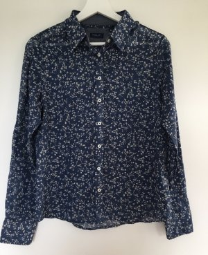 Bluse weiß blau Muster Baumwolle darling Harbour Millefleur Sommer chic M S 36