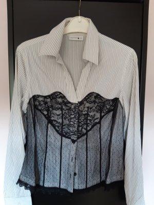 Bluse weiß, Comma, mit feinem schwarzen Streifen und Spitze