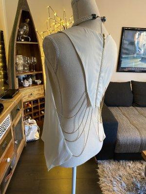 Bluse weiß / Creme Rückendekoltee Ketten 38/42 Np 45€ neu