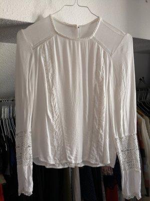 Koronkowa bluzka biały Tkanina z mieszanych włókien