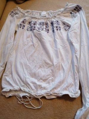 Camisa tipo Carmen blanco-púrpura