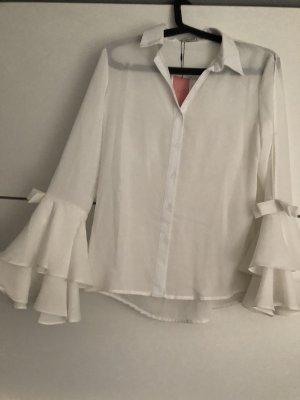 Bluse weiß mit raffinierten Details