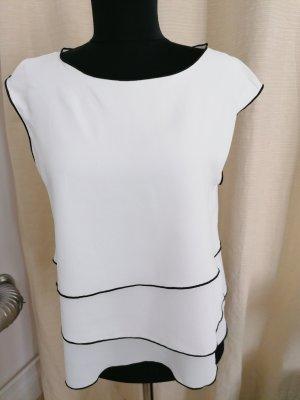 Bluse weiß mit schwarzen Paspeln, Gr. S