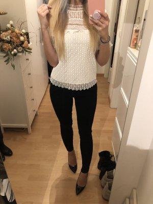 Zara Koronkowa bluzka biały-w kolorze białej wełny