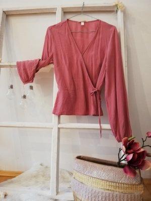 H&M Kopertowa bluzka w kolorze różowego złota-różowy Poliester