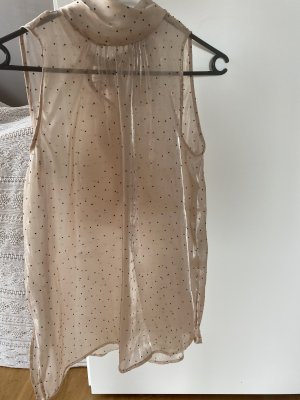 Bluse XS transparent dots Punkte nude