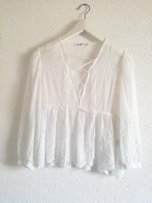 Zara Blusa collo a cravatta bianco
