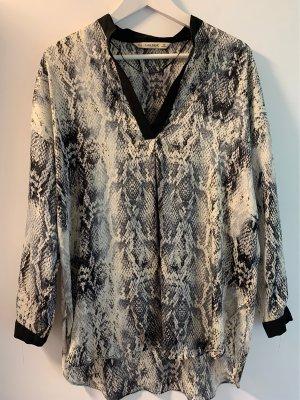 Zara Basic Bluzka oversize w kolorze białej wełny-czarny