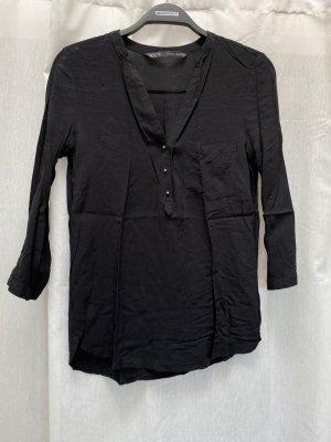 Bluse Zara Basic, schwarz, goldene Knöpfe, Gr. XS, NP 30€