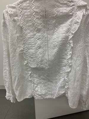 Zara Woman Blouse à volants blanc