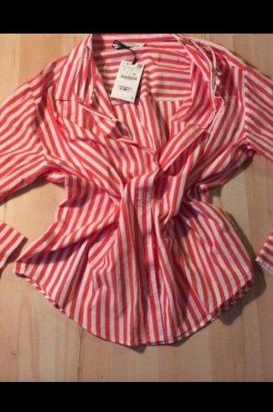 Bluse Zara Gr L Neu rot weiß