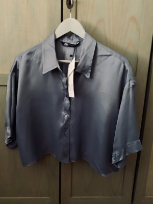 Zara Glanzende blouse azuur Viscose