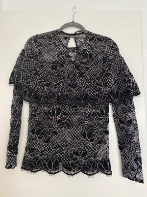 Zara Koronkowa bluzka czarny-biały