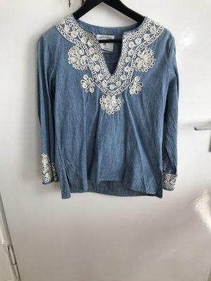 Bluse Zara Jean Zara Lightwash bestickt
