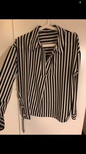 Bluse Zara schwarz weiß gesteift mit Perlen Größe 38