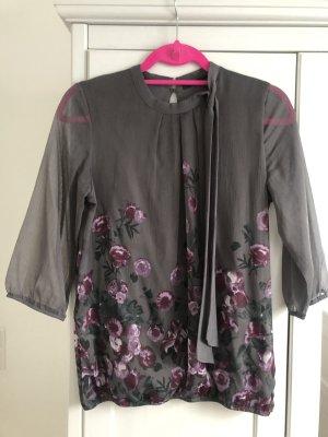 Zero Blusa con lazo gris-rosa