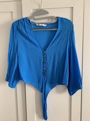 Bluse zum binden blau von Zara