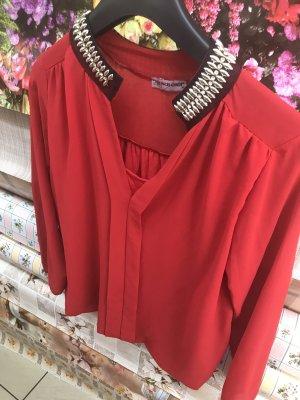 Blusa brillante rosso-carminio