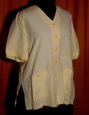 Blusen Blazer Größe 48 Gelb Viskose Leinen