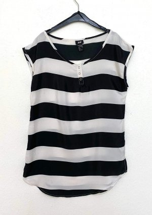 H&M Bluzka oversize czarny-biały
