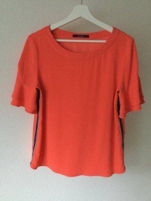 Blusen-Shirt in orange mit Galonstreifen von Laurel.