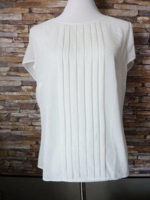 Blusen Shirt Tunika Taifun Plisseefalten creme weiss 42