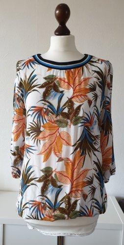 Blusen-Shirt von S.Oliver * Gr. 38 * tropical-/Blätter-Muster * mit Rippkragen