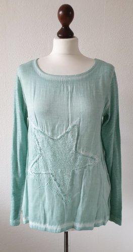 Blusen-Shirt von Zero * Gr.38 * mint-grün * Stern-Verzierung * Pailletten * Neu