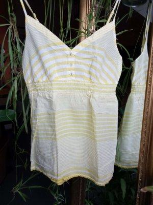 Blusen-Top mit sommerlichen Streifen-Muster in gelb-weiß