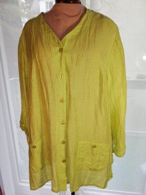 Bluzka oversize limonkowy żółty Len