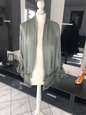 Fringed Vest green grey