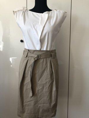 Blusenkleid beige/ weiß 34