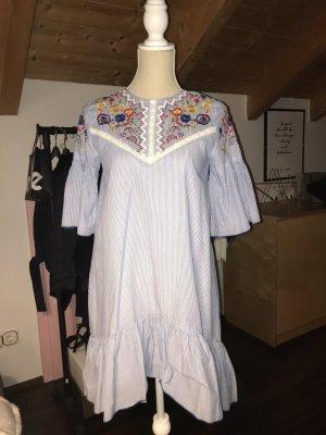 Blusenkleid blau/weiß gestreift mit Bestickung, Gr. 34