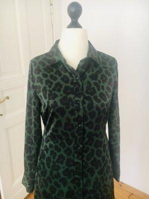 Blusenkleid, Hemdkleid, Leopard, Animal- Print, Midikleid