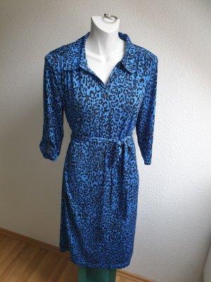 Blusenkleid / Maxikleid mit passendem Gürtel, Leoprint, Vintage Look