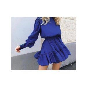 Simplee Sukienka z falbanami niebieski