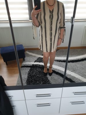 Blusenkleid Noisy May Kleid Gr. L Baumwolle Leinen Neu creme schwarz
