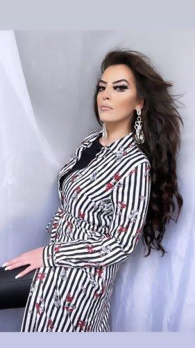 blusenkleid schwarz weiß gestreift mit gürtel