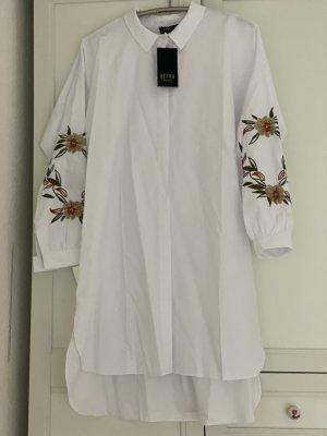 Blusenkleid Weiß mit Blumenmotiv