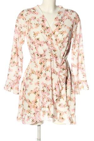 Blusenkleid wollweiß-pink Allover-Druck (neuwertig)
