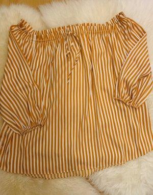 H&M Camisa tipo Carmen naranja dorado-blanco