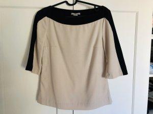 H&M Camisa tipo Carmen negro-crema