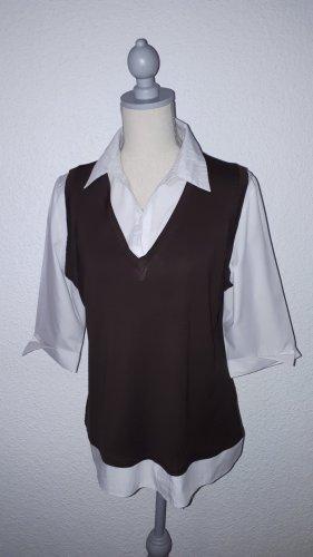 New Look Empiècement de blouses brun-blanc