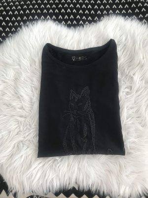 Blusenshirt schwarz Katzenmotiv