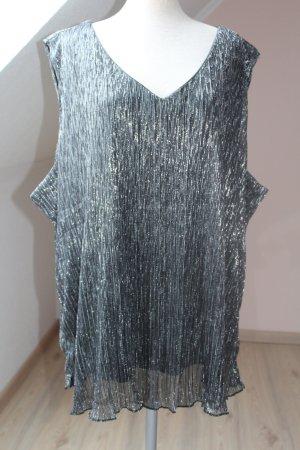 Blusenshirt Top Oberteil festlich Party Gr. 50 52 schwarz silber neu